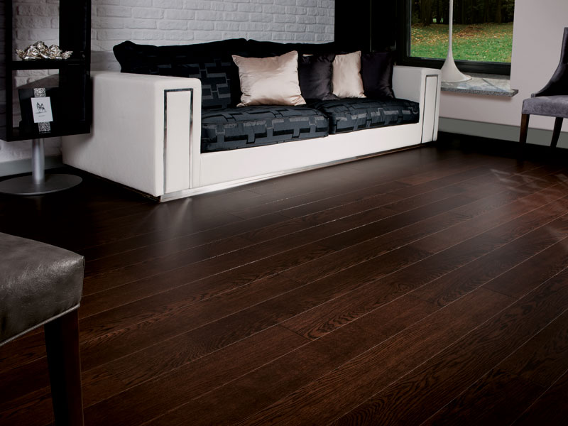 Dark chocolate signature oak flooring coswick hardwood for Black hardwood flooring