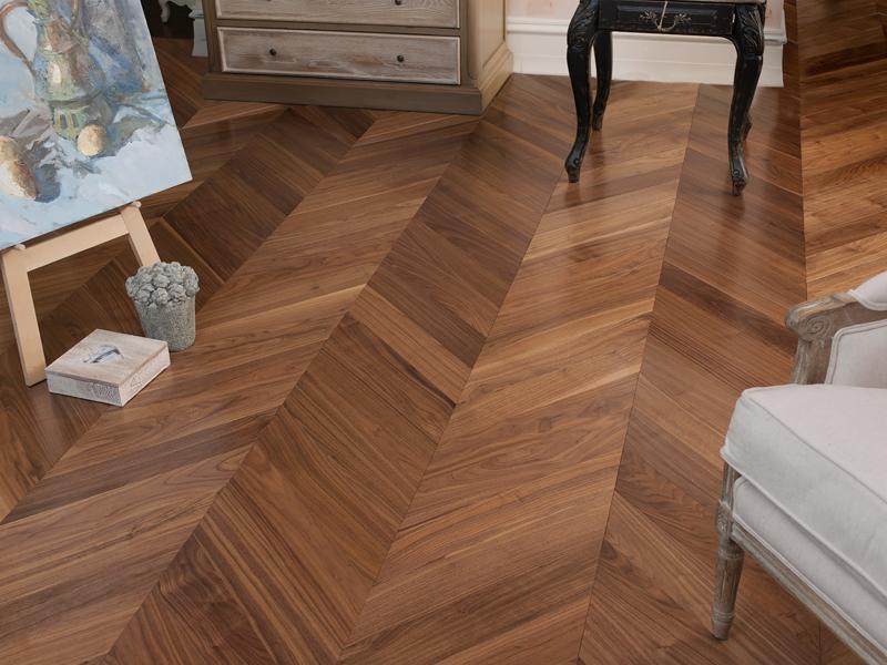 Natural american walnut chevron parquet coswick Chevron wood floor